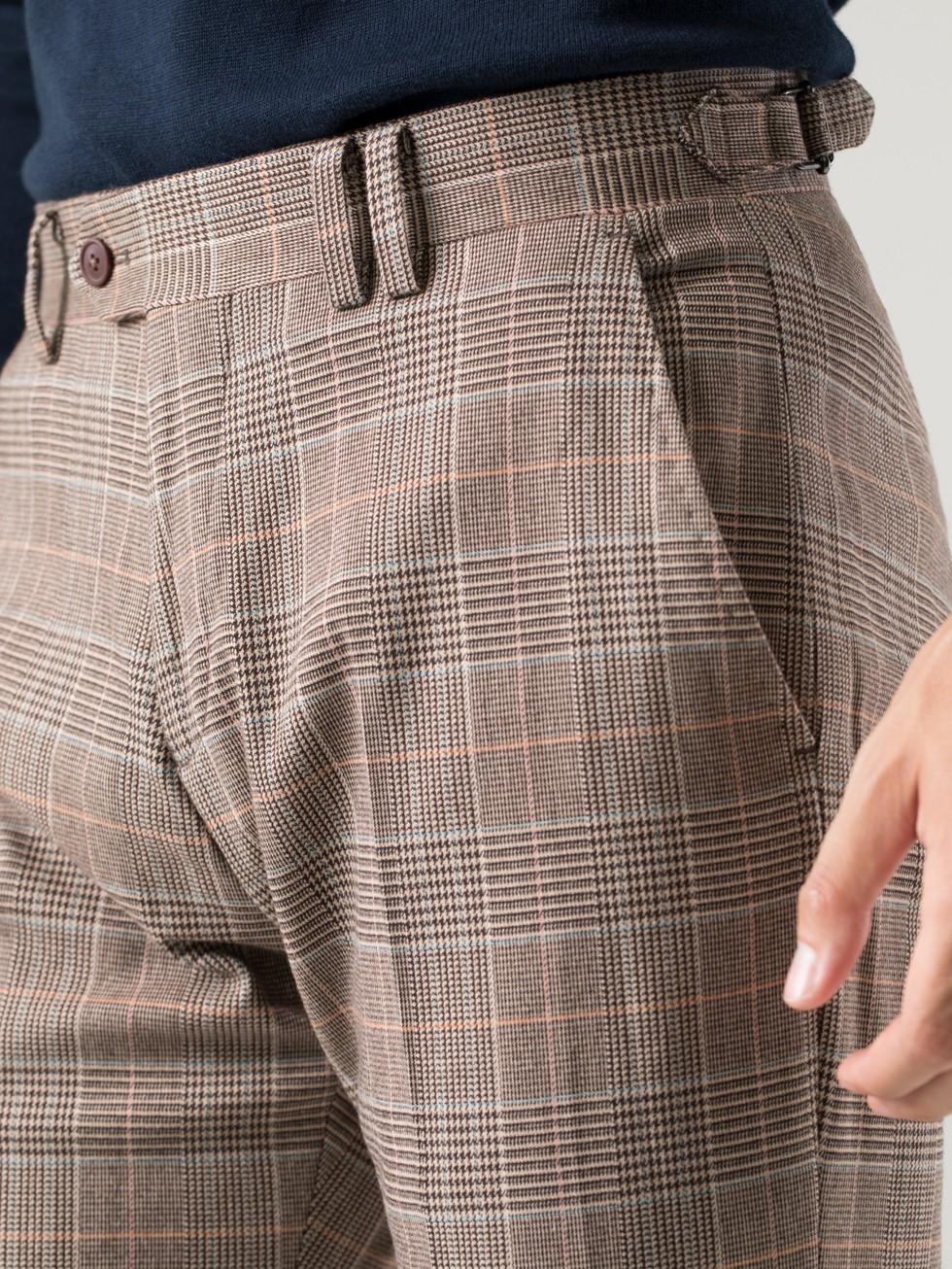 Pantalón tailored cuadro gales beige