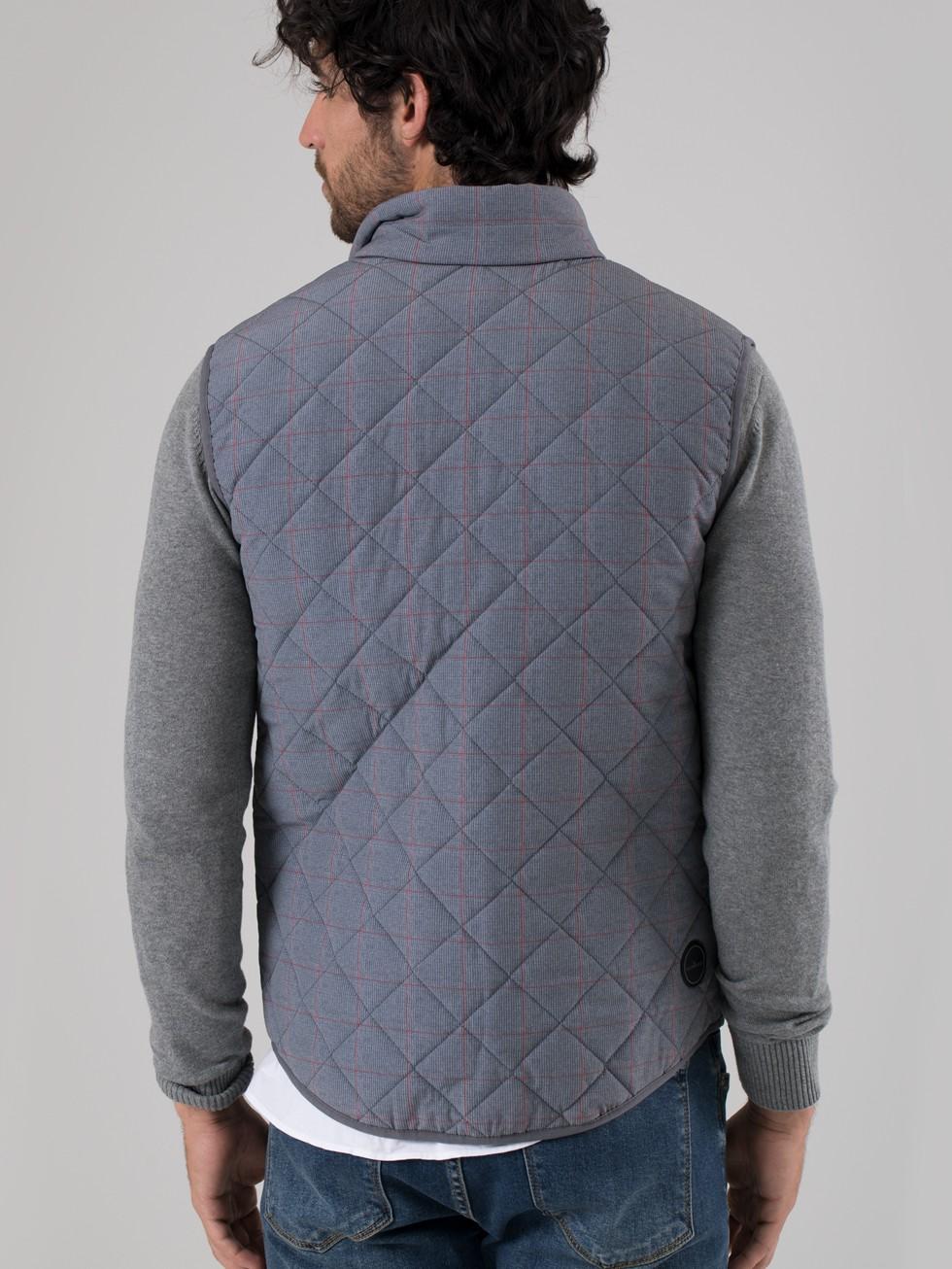 Chaleco acolchado cuadro gris