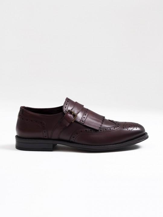 Zapato piel flecos burdeos