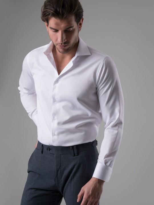 Camisa maquineta rejilla blanca