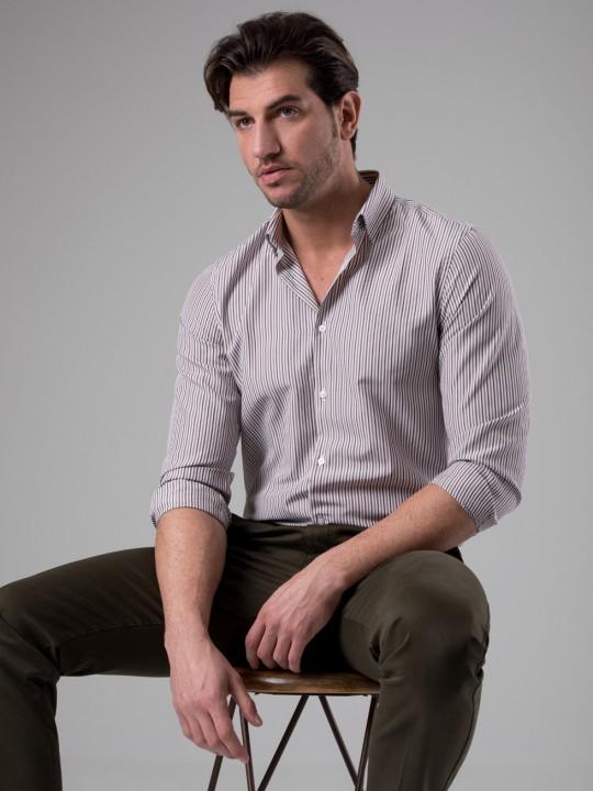 Camisa rayas marrón