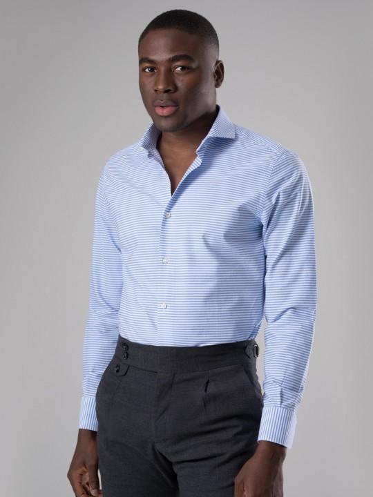 Camisa raya horizontal celeste