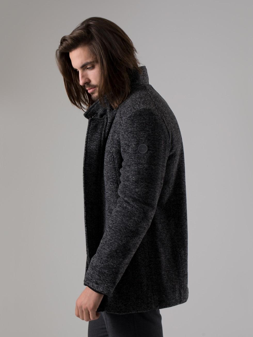 Abrigo cuello chimenea gris melange