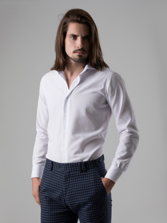 Camisa fil a fil blanca