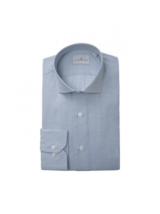 Camisa micro cuadro azul