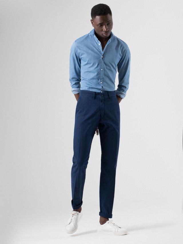 95d7fb2b246db Pantalón chino hombre azul tinta PuroEGO
