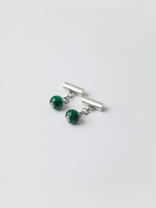 GREEN NATURAL STONE CUFFLINKS